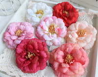 Wholesale Camellia Flower Decoration - 50pcs free shipping good camellia head artificial silk flower for home,garden,wedding,holiday beauty's head or dress decoration on holiday
