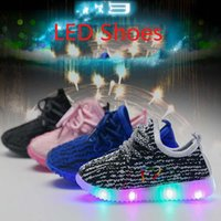 Wholesale Party Dots Led Lights - 2017 kids LED Shoes light colorful Flashing 350 Boost Shoes Unisex Fluorescent light up Shoe Party and Sport Casual Shoes for children
