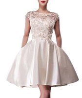 Wholesale Cocktail Tops Plus Size - Simple Ivory Mini Short Homecoming Dress Top Tulle Applique Beaded Jewel Neck Custom made Prom Dresses Cocktail Dress