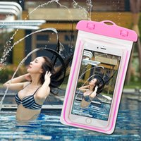 Wholesale Water Night Lights - For Iphone 7 Water Proof Outside Sport Transparent PVC Phone Case Bag And Light In Night Cellphone Shell Prevent Water Bag