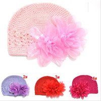 Wholesale Flower Knit Hat - Hats wholesale 10pcs Children Handmade Hats Caps Baby Knitted Caps Girls Two Flower Crochet Cap free shipping