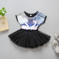 Wholesale Swan Dress Girl - Girl INS flamingo Lace princess dress kids Swan princess party birthday Short sleeve bowknot dresses baby clothes 1-4years old B001