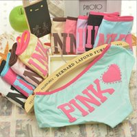 Wholesale Cute Girl Lingerie Pink - New Brand Woman Cotton Cute Panties Lovely Pink Letter Women Briefs for Girls Calcinhas Underwear Lingerie Intimates