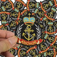 Wholesale Embroidered Anchor Patch - Anchor Military badge patches for clothing iron embroidered style patch iron on patches applique sewing accessories for clothes