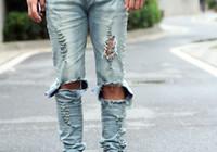 Wholesale heavy pants - Wholesale-Hi Street Fasion Heavy broken hole damaged Ripped Jeans for men Skinny distressed denim pants black and lt blue