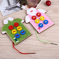 Wholesale Hand Sewing Toys - Wholesale- Montessori Wear The Button Sewing Button Wooden Montessori Educational Toys Funny Toys By Hand Clothes For Kids