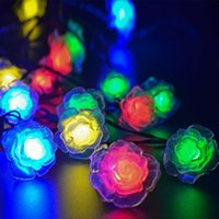 Wholesale Led Holiday Flower Lights Outdoor - LED Rose String Lights 20 LED Solar Powered Flower String Lights Outdoor Gardens Lawn Patio Home Wedding Christmas Party