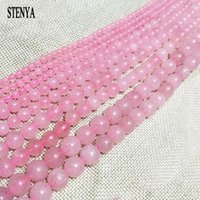 Wholesale 6 mm pink Gem natural stone jewelry findings glass crystal beads round shape necklace ends earrings top spacer bracelet kit
