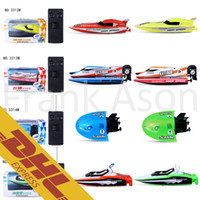 Wholesale Electric Rc Boats Racing - 24pcs lot Mini RC Boat F1 Racing Yacht Speedboat Sightseeing Submarine Warship 4CH Radio Remote Control Boats Toys for Kids Christmas Gift