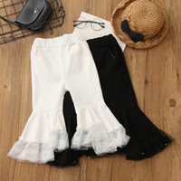 black pearl leggings - Sale new lace pearl Flared trousers Girls Leggings cotton pants baby Funky Leggings Fashion Kids Skinny Trousers white A495