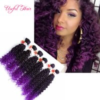 Wholesale Kinky Curly Synthetic Weave - 220G brazilian kinky curly hair weaves SEW IN HAIR EXTENSIONS ripple hair braids Jerry curly,synthetic braiding,burgundy color weave bundles