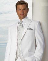 Wholesale Cheap Wedding Clothes Men - Wholesale- Cheap price - White Groom Tuxedos Men's Wedding Dress suits Prom Clothing