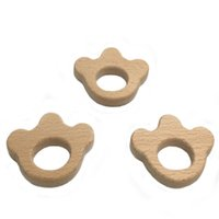 Wholesale Wooden Crowns Wholesale - Animal Charms Dog Cat Claws Wooden Teether Unfinished Crown Beads Baby Teether Eco-friendly Blank Teether Toy DIY