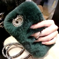 Wholesale Pearl Iphone Case Cover - Fashion Luxury Warm Soft Rabbit Fur Skin Case Cover For Apple iPhone 7 6s 6 plus 7plus 6plus Protect shell with Ring + Pearl