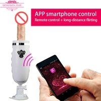 Wholesale G Spot Machine Dildo - 2017 New Bluetooth Sex Machine GUN Vibrating Thrusting Sex Machine Dildo Vibrator mobile app control Automatic Female Masturbation Machine
