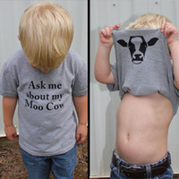 """Wholesale Cow Neck Shirt - """"ask me about moo cow"""" INS Boys Girls Summer Gray T Shirt Kids chips Printed T Shirt Best Friends Funny Tees"""