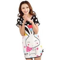 Wholesale Cotton Nighties Wholesale - Wholesale- 2017 Summer Mini Cotton Nightgown For Women Lovely polka dot rabbit O-Neck Female Sleepwear Nightdress Nightie Homewear