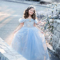 Ankle-Length organic evening wear - Cinderella Dresses Fashion Cosplay Gril Kids Clothes Princess Formal Dress Party Evening Children s Wear Flower Gril Dress Forzen Ball Gown