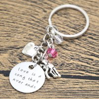 Wholesale Keychains Baby - 12pcs lot Baby Deer Fawn keyring Love is a song that never ends Mother Daughter Father keyring Crystal