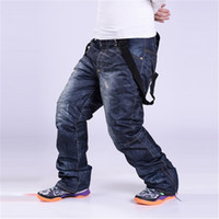 Wholesale Jean Thick - Wholesale- Plus size S-3XL Denim suspenders for Ski pants men waterproof snow pants Ski trousers thick warm Breathable jean snowboard pants