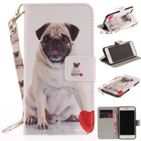Wholesale Dog Owl Monkey - Wolf Owl Tiger Lion Dog Monkey Painted Cover PU Leather Wallet Card slot Stand Case For iPhone 7
