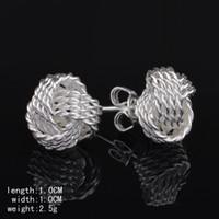Wholesale Tennis Net Wholesale - Free Shipping Wholesale summer style silver plated earrings for women Tennis net web stud earing cuff Fashion jewelry