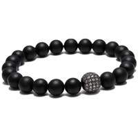 braceletes tibetanos pedra venda por atacado-Homens quentes do budista tibetano yoga lucky buddha pulseira pulseira vertente pulseira pavimentar cz pulseiras contas de pedra preto fosco