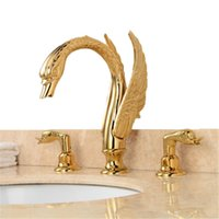 Wholesale Swan Waterfall Faucet - luxury Golden Swan Waterfall 3 Pieces Double Handles Bathtub Torneira Deck Mounted Shower Bathroom Basin Sink Faucet,Mixers&Taps
