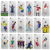 Wholesale Cristiano Ronaldo Iphone Cover - Famous Karim Benzema Cristiano Ronaldo Soccer Sports Stars Soft Clear Phone Case for iphone7 SE 55s 6s Plus Transparent Back Cover
