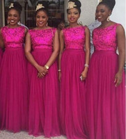 Wholesale Beautiful Silk Dresses - Beautiful Fuchsia Tulle Sweep Bridesmaids Dresses Sequined Top 2017 African Style Formal Custom Online Cheap Sale Bridesmaids Gowns