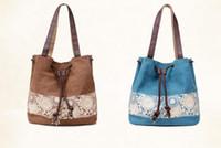 Wholesale Lace Woman Handbag - Women fashion handbag draw string hasp closure attractive lace pattern print woman canvas leisure tote bag