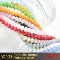 Wholesale White Opaque Beads - Cheap Crystal Beads String Opaque Crystal Glass Flat Rondelle Beads 8mm Alabaster Colors A5040 72pcs set