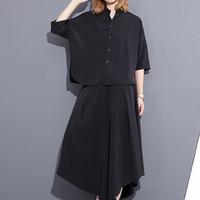 Wholesale Large Pieces Cotton - 2017 Summer New Fashion Large Size Solid Color Short Shirt + Wide Leg Nine Pants Twinset Women L57301