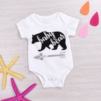 Wholesale Jumpsuits For Spring Sleeves - INS Baby boys girls White Cotton Bear Rompers Bodysuit Newborn Cartoon Romper Jumpsuit Playsuit For 0-24M