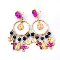 Wholesale night earrings - long cross brincos grandes crystal big tassel dangle earrings keys night club evening party gold metal drop ebig circle tassel earrings