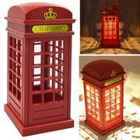 Wholesale touch lamps for bedside table - Wholesale- Retro London Telephone Booth LED Night Light Touch Sensor USB Battery Operated Bedside Table Lamp Nightlight for Baby Bedroom