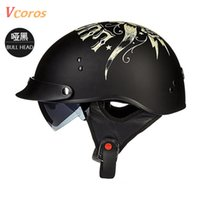 Wholesale Casque Moto Retro - Wholesale- TORC New Arrival Vintage Half Face Motorcycle Helmet Casco Casque Moto Harley Retro Helmets With Inner Sun Visor lucky 13 helmet