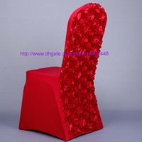 Housses De Dosseret Pas Cher-50pcs Nouveau Rouge Rose Satin Et Spandex Rosette Retour chaise couverture spandex blanc Dining Renovation Chair Covers For Wedding