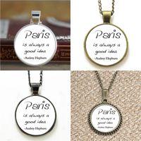 Wholesale good ideas - 10pcs Audrey Hepburn Paris is a good idea Quote Glass Necklace keyring bookmark cufflink earring bracelet