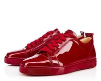 Femme En Cuir Vin Rouge Pas Cher-Elegant Low Top Sneakers Chaussures Red Bottom Femmes Hommes Trainers Wine-red Patent Leather Junior Chaussures à lacets Red Soles Chaussure de luxe