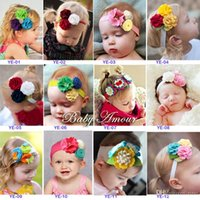 Wholesale Stereoscopic Colorful Flower Hair Band - Baby Girls Hair Accessories Baby Flower Hairbands Childrens Stereoscopic Colorful Flower Hair Bands 12 Styles for Choose