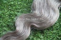 gri dokuma saç toptan satış-6A Ham Işlenmemiş 100% Doğal Dalga Gümüş Gri Vücut Dalgalı Saç uzantıları 100G Bakire Perulu Gri İnsan Remy Saç Örgü
