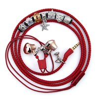Wholesale Earphone Bracelet - Wearable Pandora Charms Bracelet Wristband Stereo Earphone With in-line remote Mic for IPhone and Android Devices Iphone Headphone