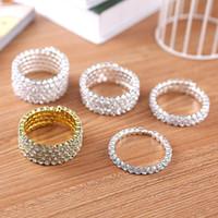 ingrosso braccialetti stretch braccialetti-Di alta qualità 1-5 fila nuziale matrimonio a spirale braccialetto braccialetto grande strass di cristallo tratto polsino vendita calda gioielli accessori per le donne