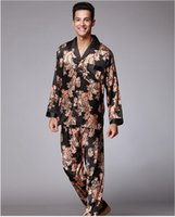 Wholesale Chiffon Smooth - New!Elegant Men's pajamas 2pcs Suit Silky smooth Autumn Anti real silk Pajamas Bathrobe Leisure suit Leisure home Pajamas Sets QTZ185