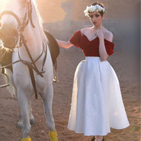 Wholesale Tea Length Off White Skirt - 1950S Vintage Country Wedding Dresses Dark Red with White Lace Off Shoulder 2017 Custom Made Summer Beach Outdoor Bridal Wedding Party Gowns