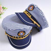 New Striped Navy Cap for Adult Children Fashion Military Captain Hats Caps Women Men Boys Girls Sailor Hats Army Naval Caps berets