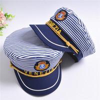 niño boina niños al por mayor-Nueva gorra de rayas de la marina de guerra para niños adultos Moda Capitán militar Sombreros Gorras Mujeres Hombres Niños Niñas Sombreros de marinero Gorras navales del ejército Boinas