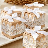 Candy Box Kraft Paper Gift Packing Quadrado Branco Lace Hollow Exquisite Sobremesa Sweets Case Retro Style Decor 0 35hb R