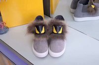 Wholesale Long Black Round Shoe Laces - 2017Fendi little monster Yellow eyes long hair With brown hair Outdoor shoes New style canvas High help female shoes